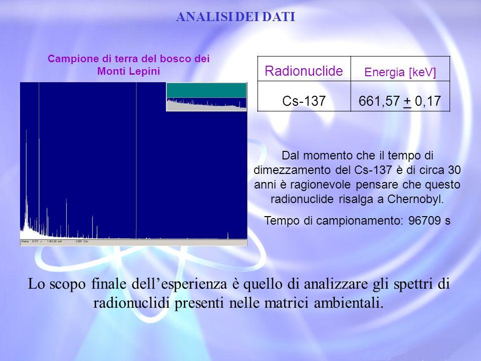 ANALISI DEI DATI Lo scopo finale dellesperienza è quello di analizzare gli spettri di radionuclidi presenti nelle matrici ambientali. Radionuclide Ene