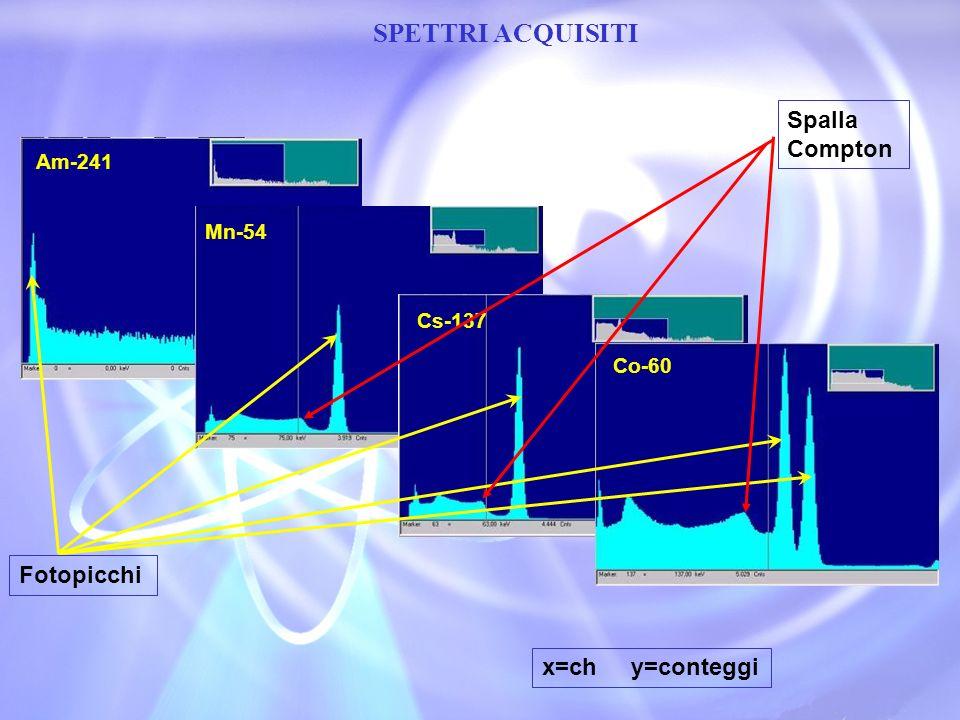 Am-241 SPETTRI ACQUISITI Mn-54 Cs-137 Co-60 Fotopicchi Spalla Compton x=ch y=conteggi