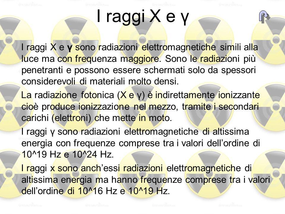 I raggi X e γ I raggi X e γ sono radiazioni elettromagnetiche simili alla luce ma con frequenza maggiore. Sono le radiazioni più penetranti e possono