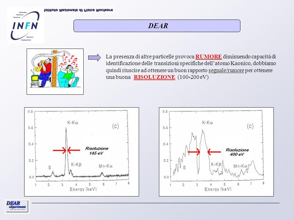 segnale/rumore La presenza di altre particelle provoca RUMORE diminuendo capacità di identificazione delle transizioni specifiche dellatomo Kaonico, d