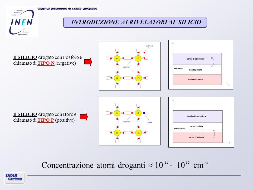 Il SILICIO drogato con Fosforo e chiamato di TIPO N (negative) Il SILICIO drogato con Boro e chiamato di TIPO P (positive) 1215 Concentrazione atomi d