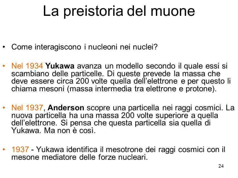 24 La preistoria del muone Come interagiscono i nucleoni nei nuclei? Nel 1934 Yukawa avanza un modello secondo il quale essi si scambiano delle partic