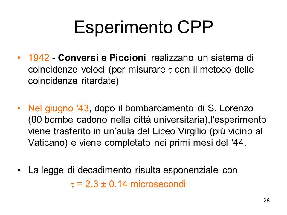 28 Esperimento CPP 1942 - Conversi e Piccioni realizzano un sistema di coincidenze veloci (per misurare con il metodo delle coincidenze ritardate) Nel giugno 43, dopo il bombardamento di S.