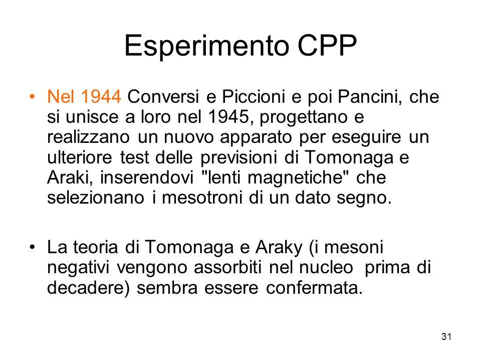 31 Esperimento CPP Nel 1944 Conversi e Piccioni e poi Pancini, che si unisce a loro nel 1945, progettano e realizzano un nuovo apparato per eseguire un ulteriore test delle previsioni di Tomonaga e Araki, inserendovi lenti magnetiche che selezionano i mesotroni di un dato segno.