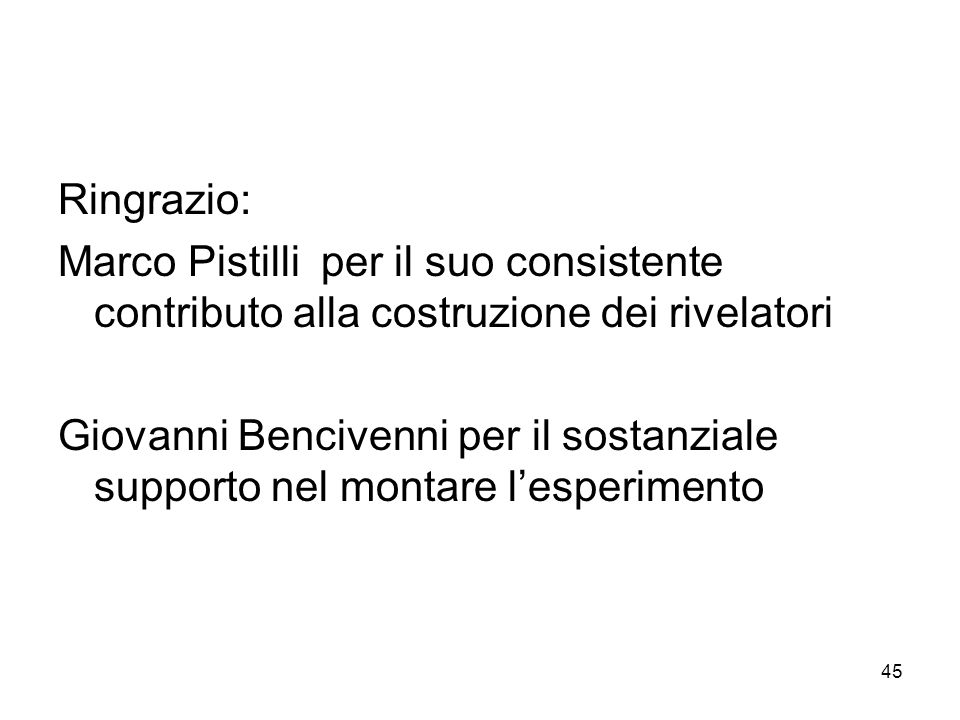 45 Ringrazio: Marco Pistilli per il suo consistente contributo alla costruzione dei rivelatori Giovanni Bencivenni per il sostanziale supporto nel montare lesperimento