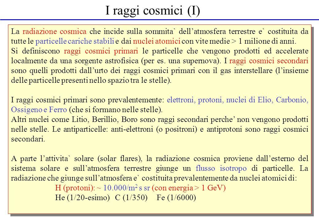 I raggi cosmici (I) La radiazione cosmica che incide sulla sommita` dellatmosfera terrestre e` costituita da tutte le particelle cariche stabili e dai