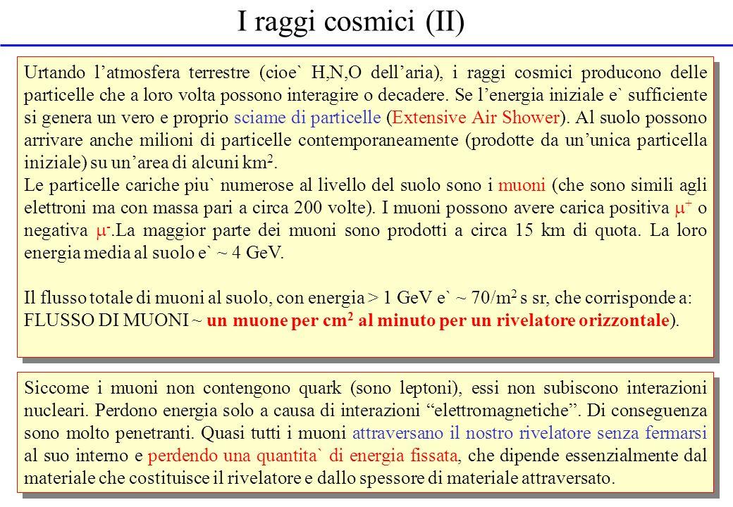 I raggi cosmici (II) Urtando latmosfera terrestre (cioe` H,N,O dellaria), i raggi cosmici producono delle particelle che a loro volta possono interagi