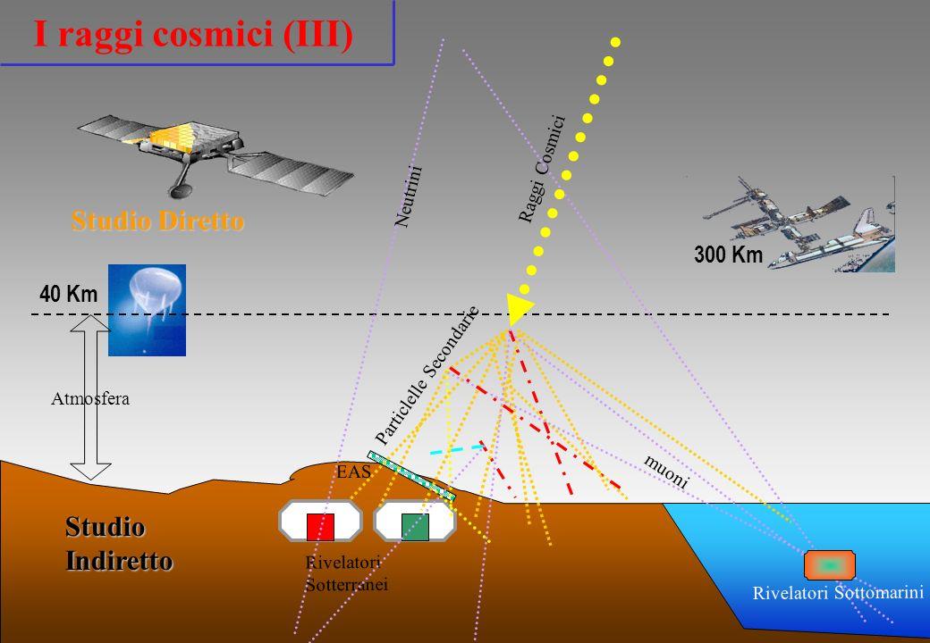 40 Km Atmosfera Studio Diretto Rivelatori Sotterranei StudioIndiretto EAS 300 Km muoni Particlelle Secondarie Raggi Cosmici Neutrini Rivelatori Sottom
