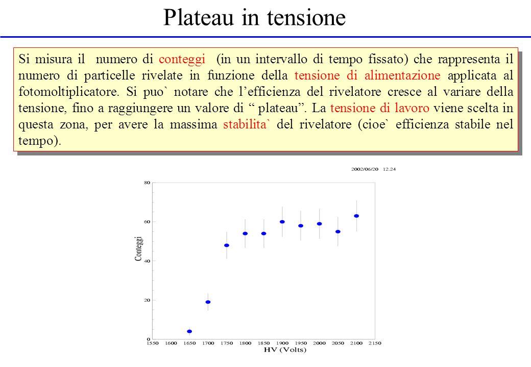 Plateau in tensione Si misura il numero di conteggi (in un intervallo di tempo fissato) che rappresenta il numero di particelle rivelate in funzione d