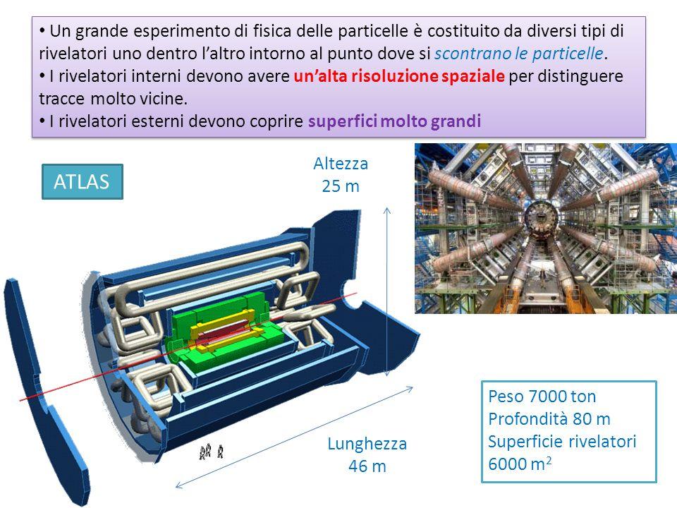 Un grande esperimento di fisica delle particelle è costituito da diversi tipi di rivelatori uno dentro laltro intorno al punto dove si scontrano le pa