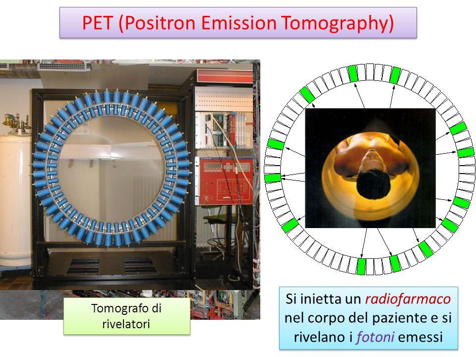 PET (Positron Emission Tomography) Tomografo di rivelatori Si inietta un radiofarmaco nel corpo del paziente e si rivelano i fotoni emessi