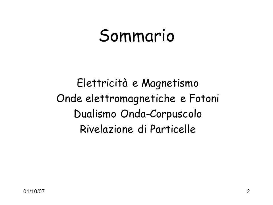 01/10/072 Sommario Elettricità e Magnetismo Onde elettromagnetiche e Fotoni Dualismo Onda-Corpuscolo Rivelazione di Particelle