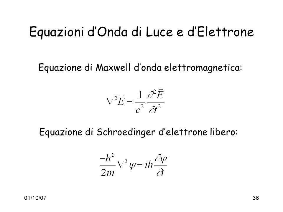 01/10/0736 Equazioni dOnda di Luce e dElettrone Equazione di Maxwell donda elettromagnetica: Equazione di Schroedinger delettrone libero: