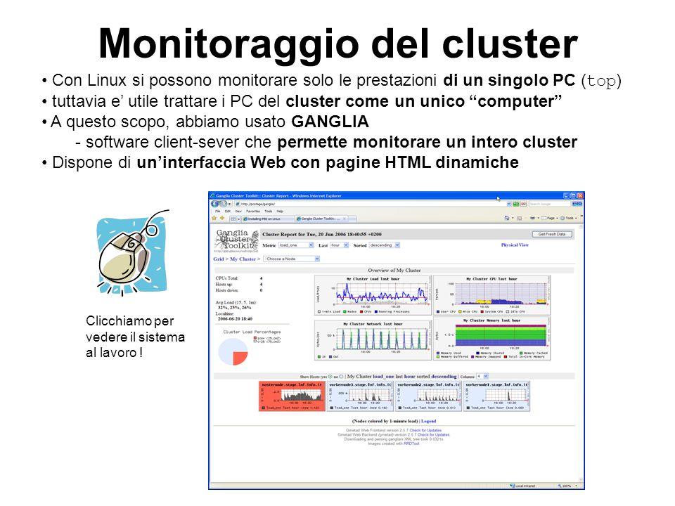 Monitoraggio del cluster Con Linux si possono monitorare solo le prestazioni di un singolo PC ( top ) tuttavia e utile trattare i PC del cluster come