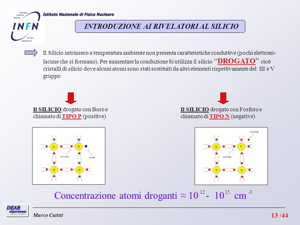 Il SILICIO drogato con Fosforo e chiamato di TIPO N (negative) Il SILICIO drogato con Boro e chiamato di TIPO P (positive) 1215 Concentrazione atomi droganti 10 - 10 cm -3 Marco Catitti INTRODUZIONE AI RIVELATORI AL SILICIO Il Silicio intrinseco a temperatura ambiente non presenta caratteristiche conduttive (pochi elettroni- lacune che si formano).