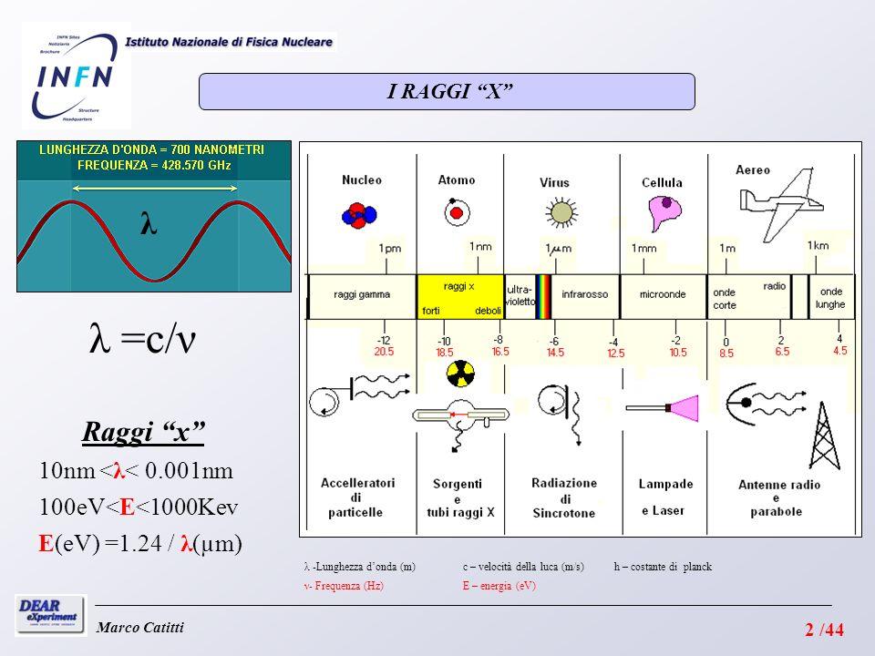 I RAGGI X Marco Catitti λ =c/ν λ λ -Lunghezza donda (m) ν- Frequenza (Hz) c – velocità della luca (m/s) E – energia (eV) h – costante di planck E(eV) =1.24 / λ(µm) 100eV<E<1000Kev 10nm <λ< 0.001nm Raggi x 2 /44