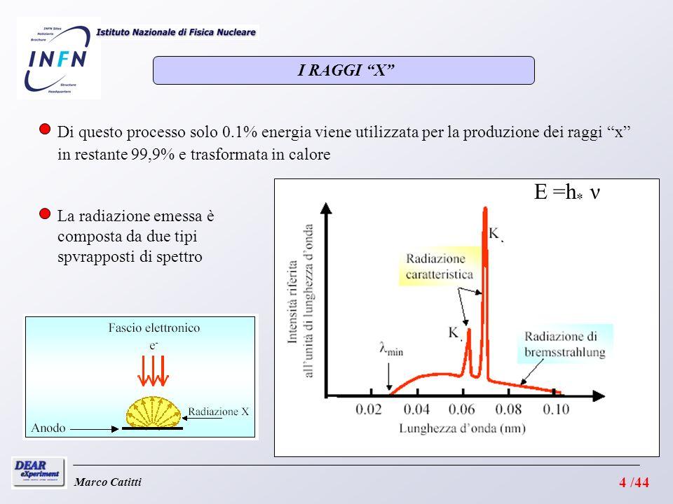 Marco Catitti I RAGGI X E =h * ν Di questo processo solo 0.1% energia viene utilizzata per la produzione dei raggi x in restante 99,9% e trasformata in calore La radiazione emessa è composta da due tipi spvrapposti di spettro 4 /44
