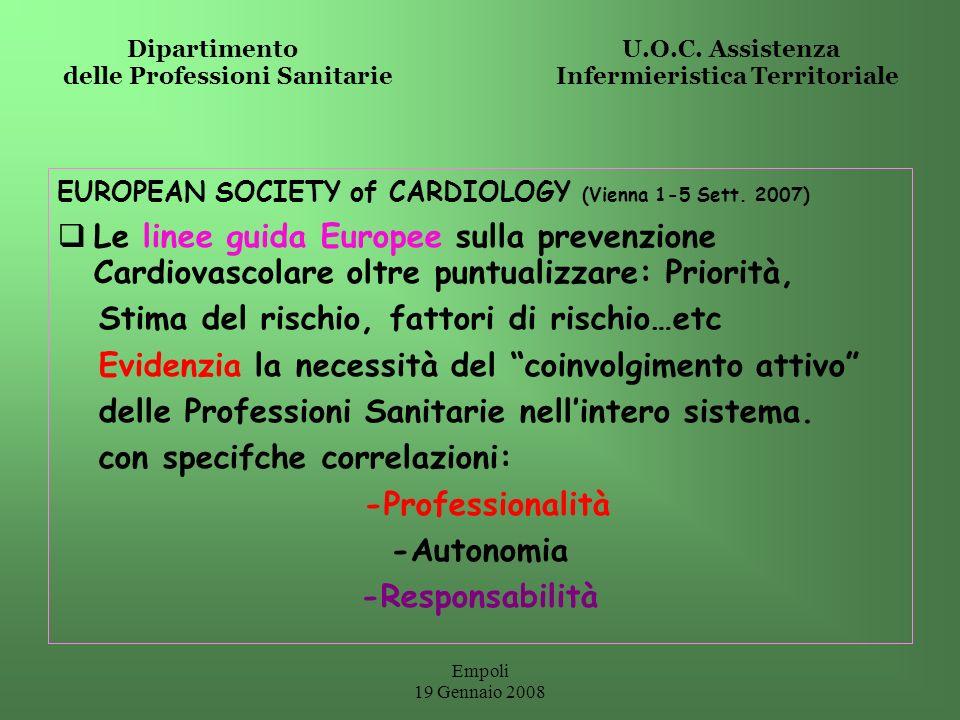 Empoli 19 Gennaio 2008 Dipartimento U.O.C. Assistenza delle Professioni Sanitarie Infermieristica Territoriale EUROPEAN SOCIETY of CARDIOLOGY (Vienna