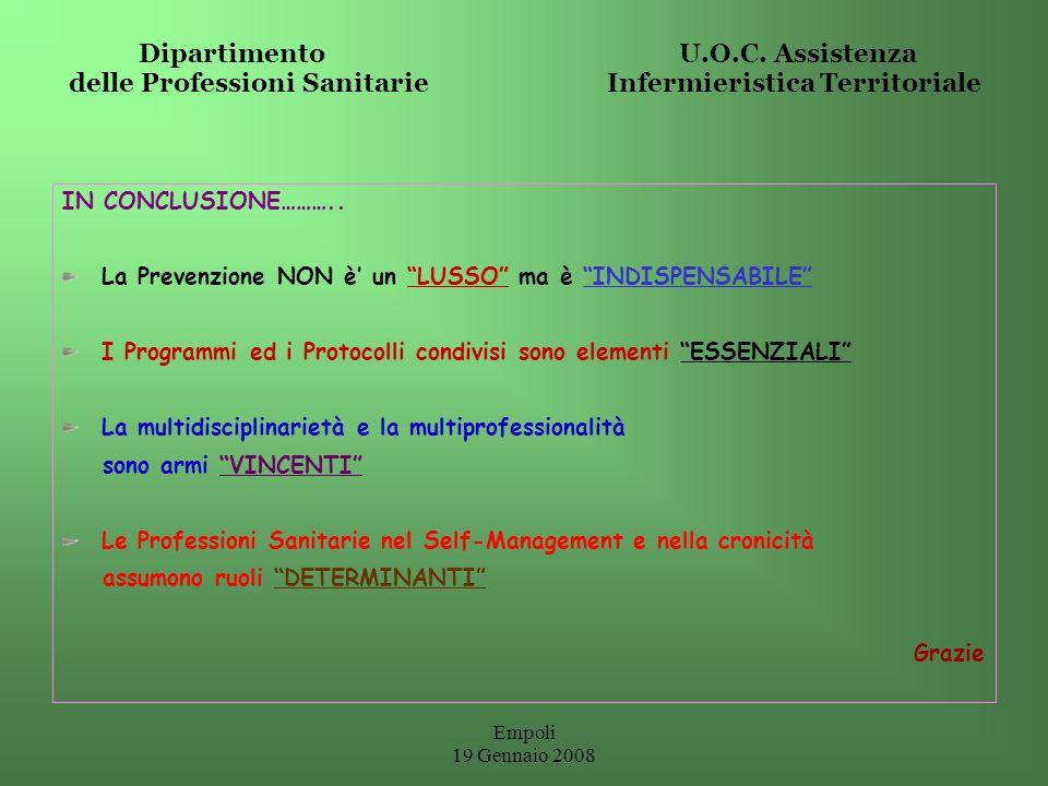 Empoli 19 Gennaio 2008 Dipartimento U.O.C. Assistenza delle Professioni Sanitarie Infermieristica Territoriale IN CONCLUSIONE……….. La Prevenzione NON
