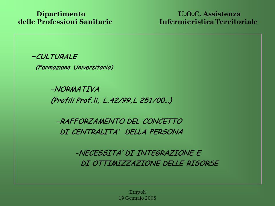 Empoli 19 Gennaio 2008 CARE HEALTH PREVENTION EDUCATION THERAPEUTIC EDUCATION MANAGEMENT EDUCATION RESEARCH CONSULTING NURSE ROLE ACTIVITY COMPETENCE Dipartimento U.O.C.