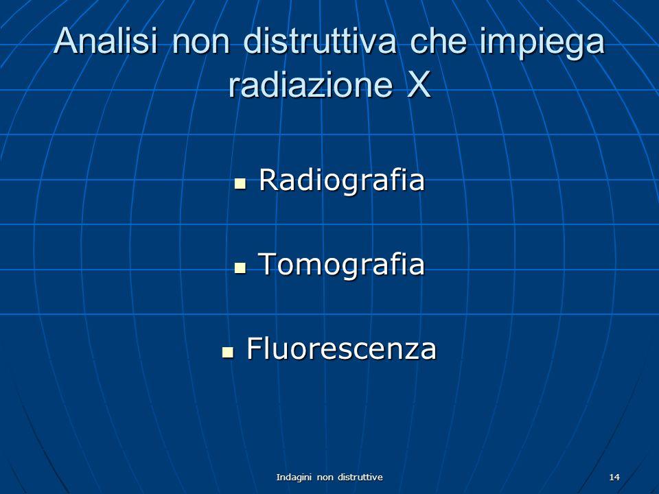 Indagini non distruttive14 Analisi non distruttiva che impiega radiazione X Radiografia Radiografia Tomografia Tomografia Fluorescenza Fluorescenza