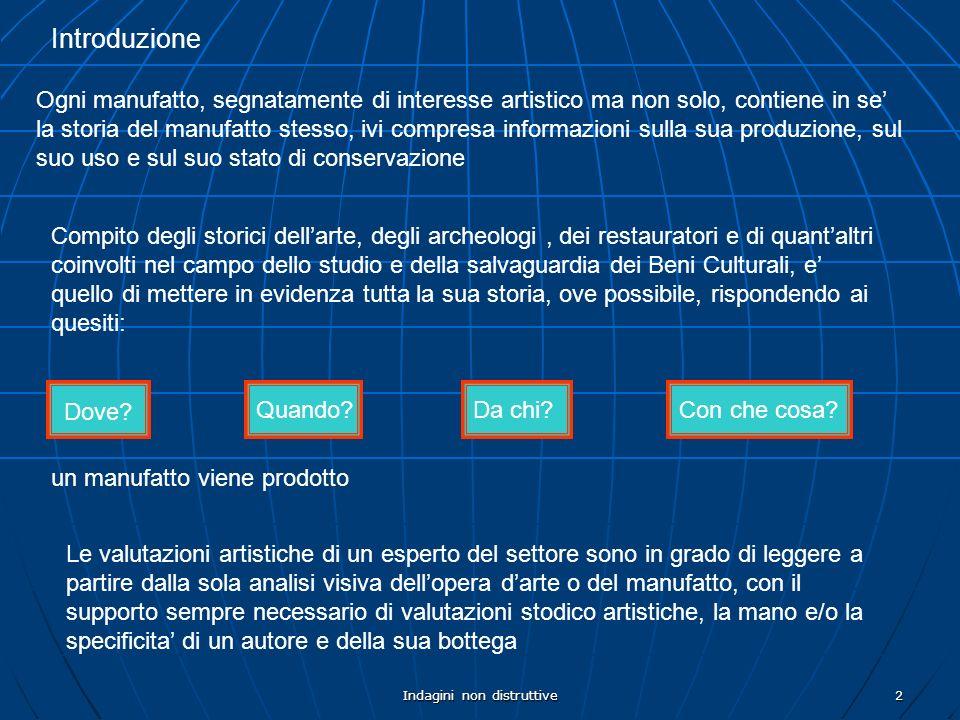 Indagini non distruttive13 Informazioni rilevabili per mezzo di radiazione ottica (UV-VIS-IR) 100 m max