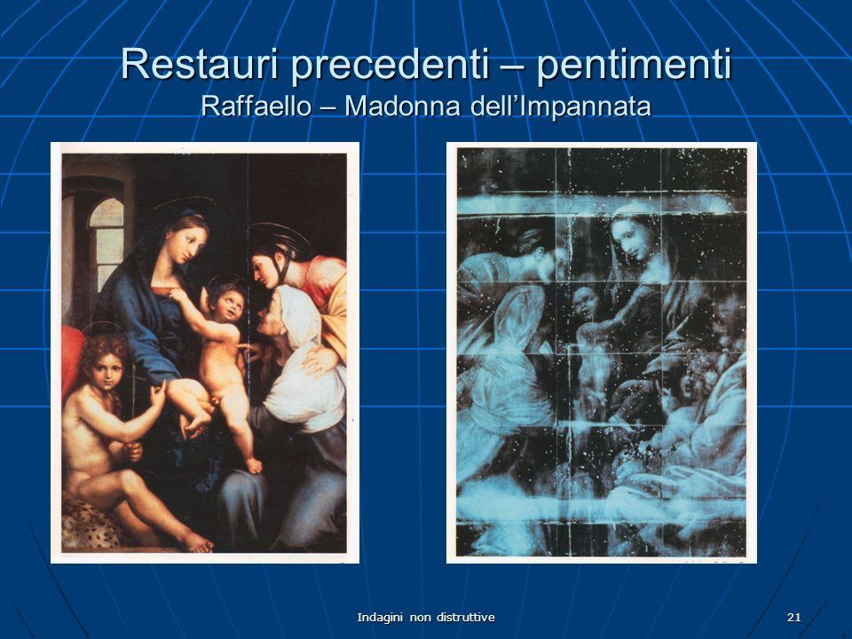 Indagini non distruttive21 Restauri precedenti – pentimenti Raffaello – Madonna dellImpannata
