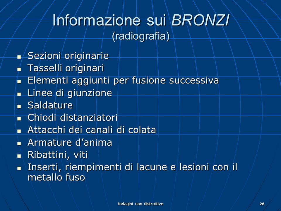 Indagini non distruttive26 Informazione sui BRONZI (radiografia) Sezioni originarie Sezioni originarie Tasselli originari Tasselli originari Elementi