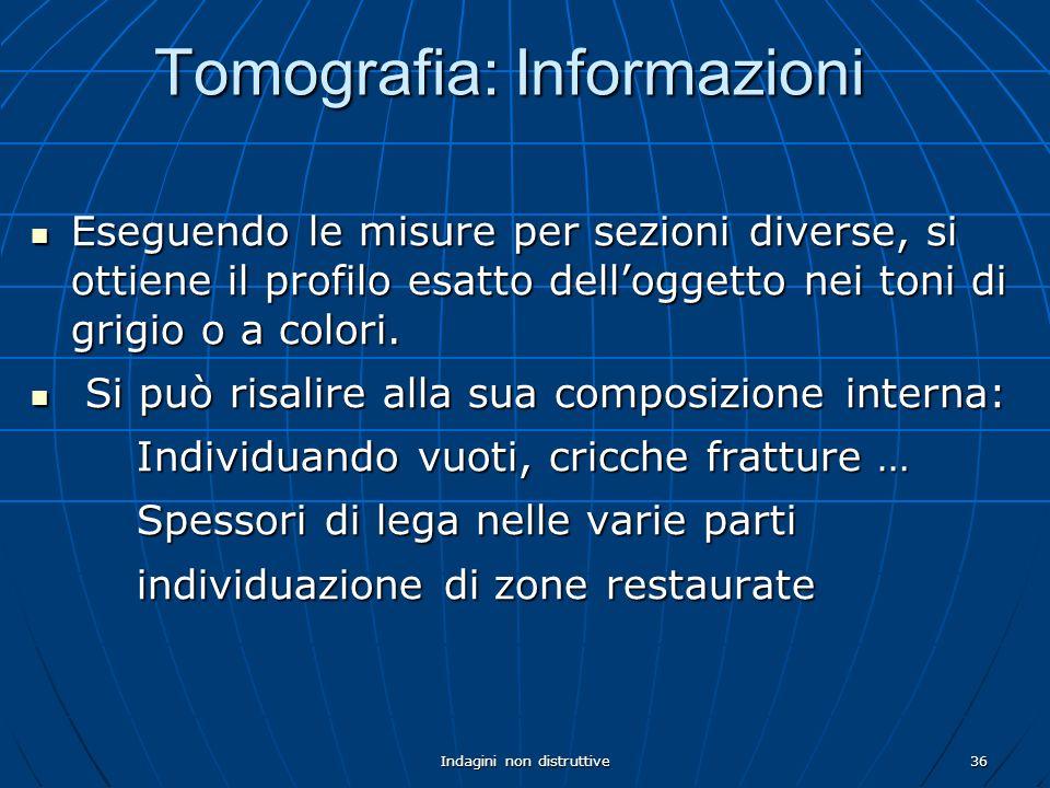Indagini non distruttive36 Tomografia: Informazioni Eseguendo le misure per sezioni diverse, si ottiene il profilo esatto delloggetto nei toni di grig