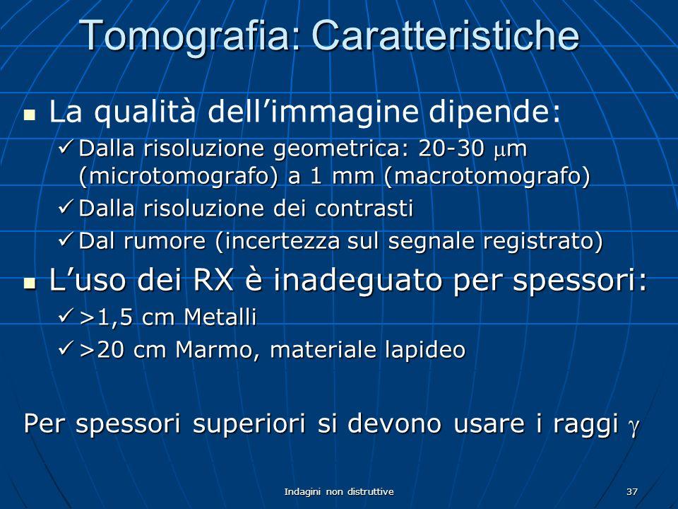 Indagini non distruttive37 La qualità dellimmagine dipende: Dalla risoluzione geometrica: 20-30 m (microtomografo) a 1 mm (macrotomografo) Dalla risol