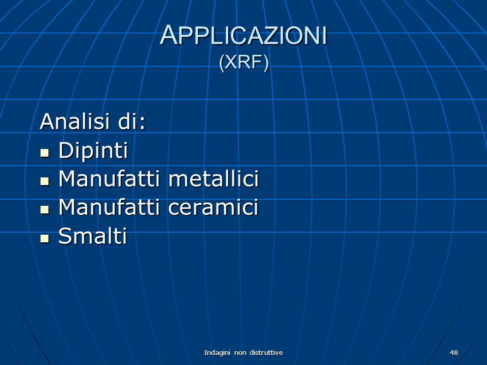 Indagini non distruttive48 A PPLICAZIONI (XRF) Analisi di: Dipinti Dipinti Manufatti metallici Manufatti metallici Manufatti ceramici Manufatti cerami