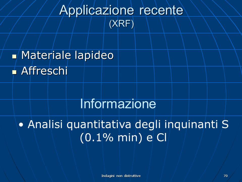 Indagini non distruttive70 Applicazione recente (XRF) Materiale lapideo Materiale lapideo Affreschi Affreschi Informazione Analisi quantitativa degli