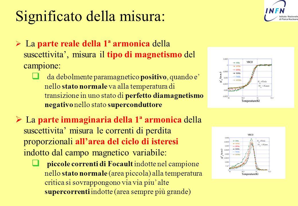 Significato della misura: La parte reale della 1ª armonica della suscettivita, misura il tipo di magnetismo del campione: da debolmente paramagnetico