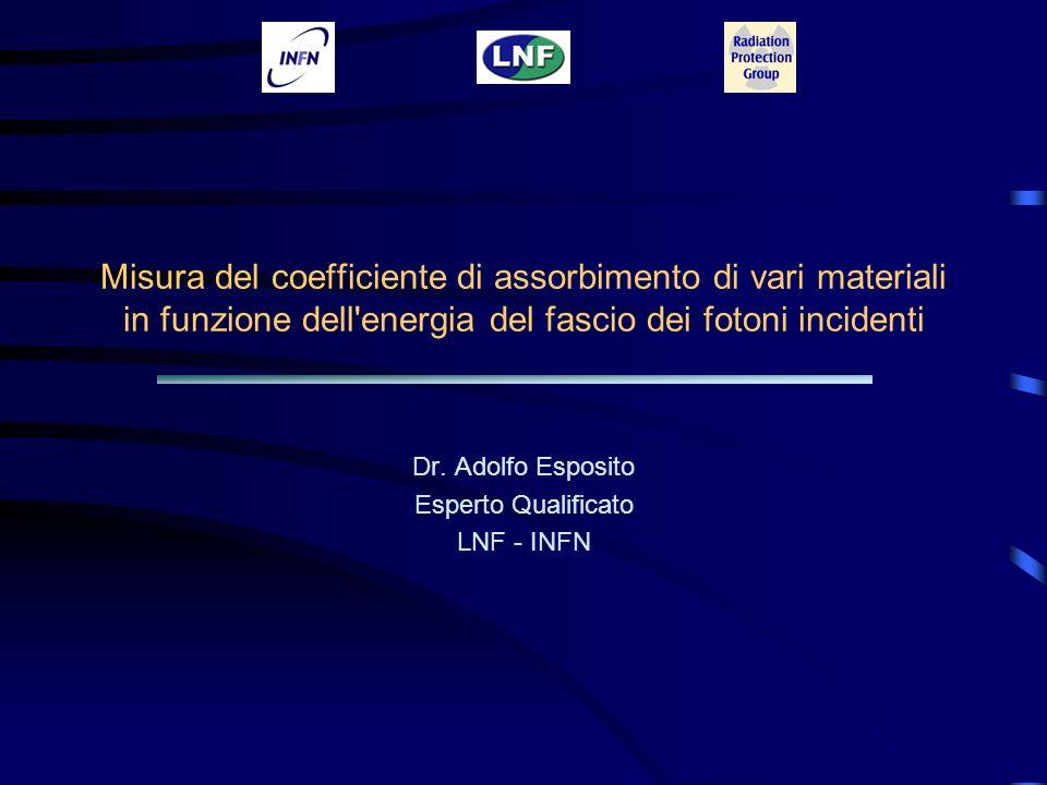 Misura del coefficiente di assorbimento di vari materiali in funzione dell'energia del fascio dei fotoni incidenti Dr. Adolfo Esposito Esperto Qualifi