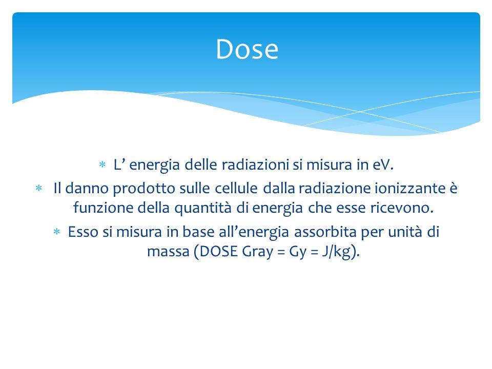 L energia delle radiazioni si misura in eV. Il danno prodotto sulle cellule dalla radiazione ionizzante è funzione della quantità di energia che esse