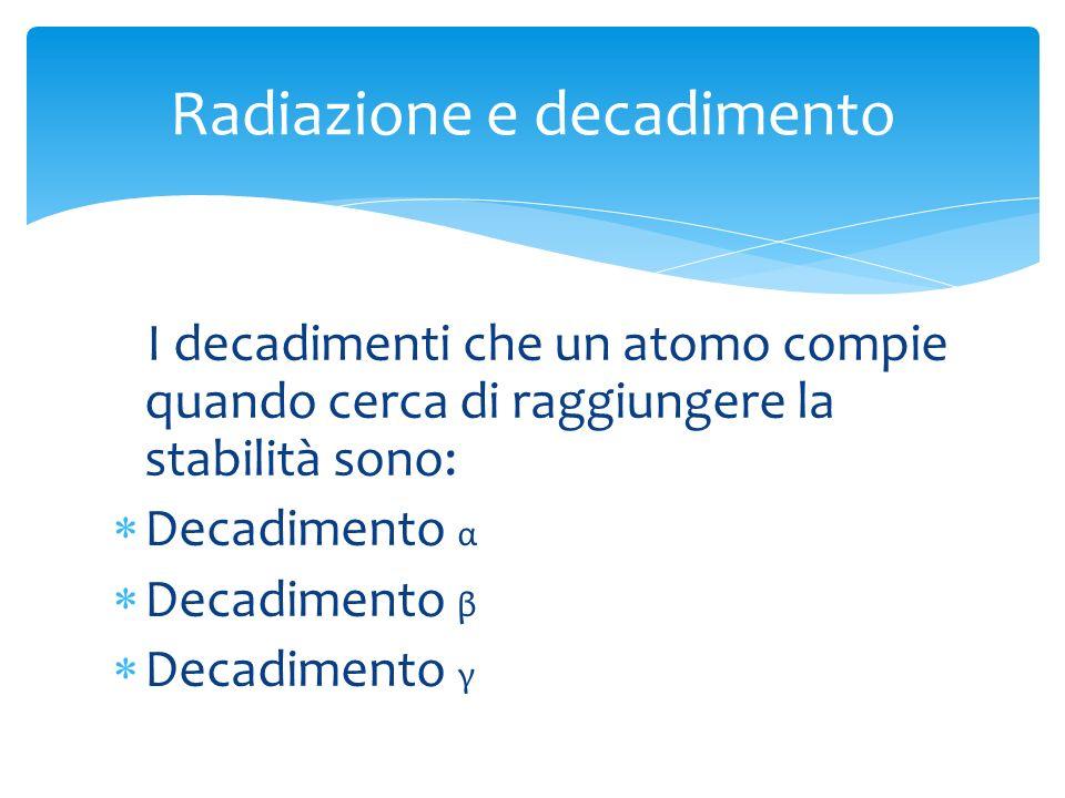 I decadimenti che un atomo compie quando cerca di raggiungere la stabilità sono: Decadimento α Decadimento β Decadimento γ Radiazione e decadimento