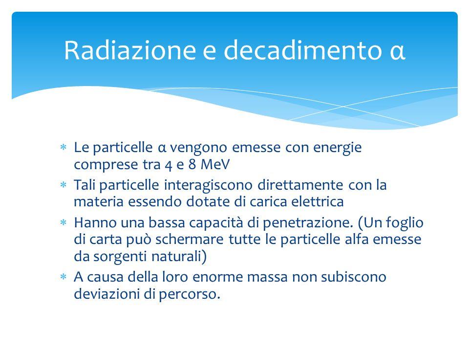 Le particelle α vengono emesse con energie comprese tra 4 e 8 MeV Tali particelle interagiscono direttamente con la materia essendo dotate di carica e