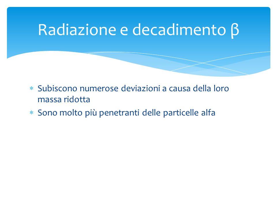Radiazione e decadimento β Subiscono numerose deviazioni a causa della loro massa ridotta Sono molto più penetranti delle particelle alfa