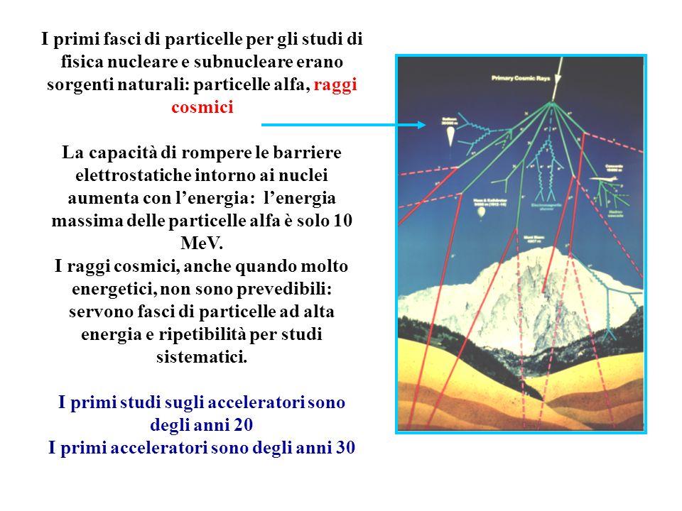Principali magneti di un anello DIPOLI – determinano la traiettoria di riferimento QUADRUPOLI – mantengono le oscillazioni di tutte le particelle intorno alla traiettoria di riferimento SESTUPOLI – correggono leffetto cromatico dei quadrupoli