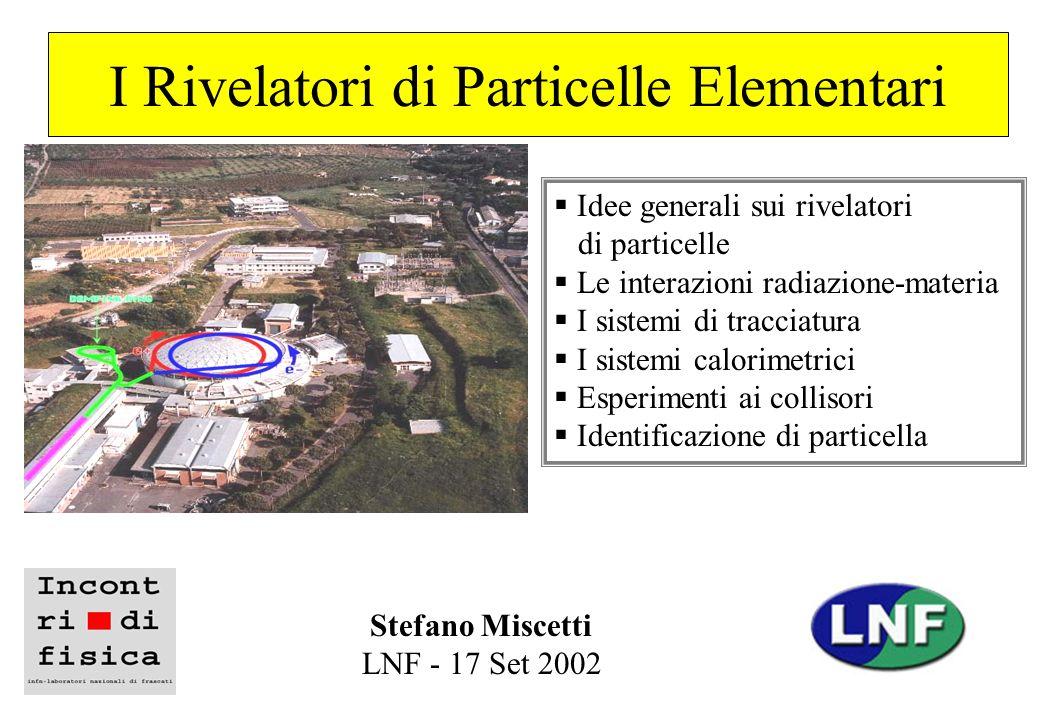 I Rivelatori di Particelle Elementari Idee generali sui rivelatori di particelle Le interazioni radiazione-materia I sistemi di tracciatura I sistemi