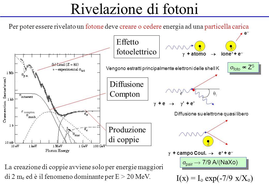 Rivelazione di fotoni Per poter essere rivelato un fotone deve creare o cedere energia ad una particella carica + atomo ione + + e XX e Vengono estrat