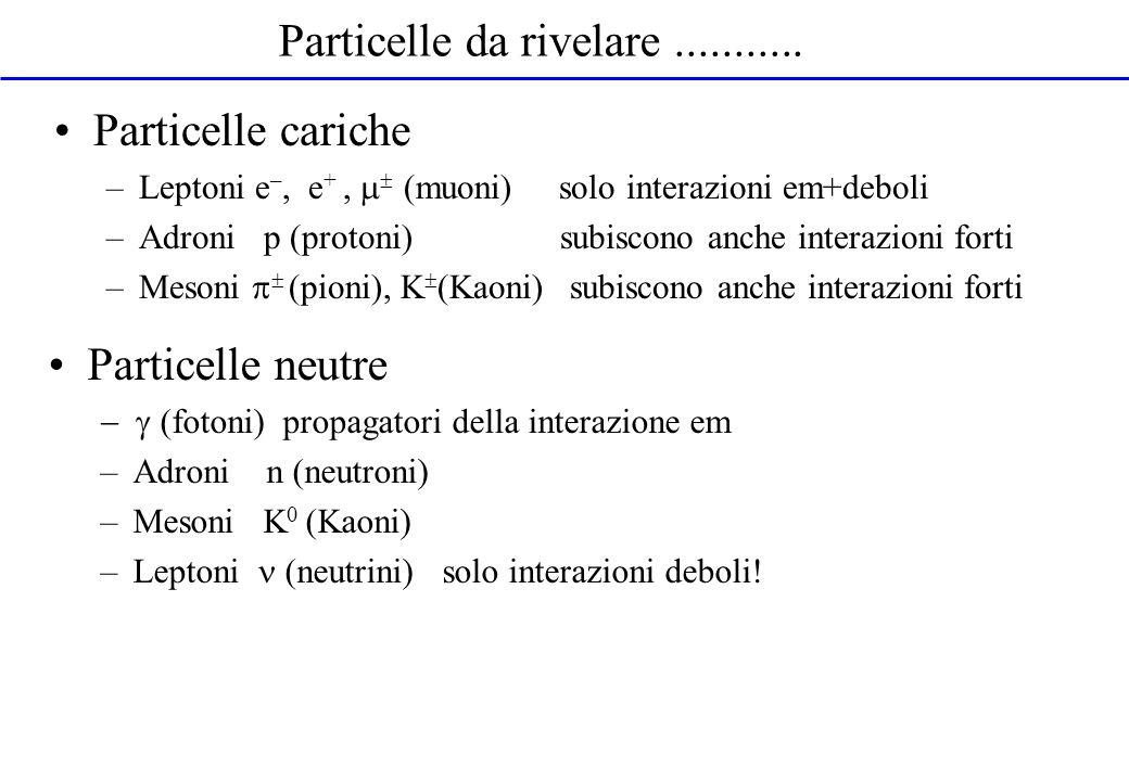 Particelle cariche –Leptoni e –, e +, (muoni) solo interazioni em+deboli –Adroni p (protoni) subiscono anche interazioni forti –Mesoni (pioni), K (Kao