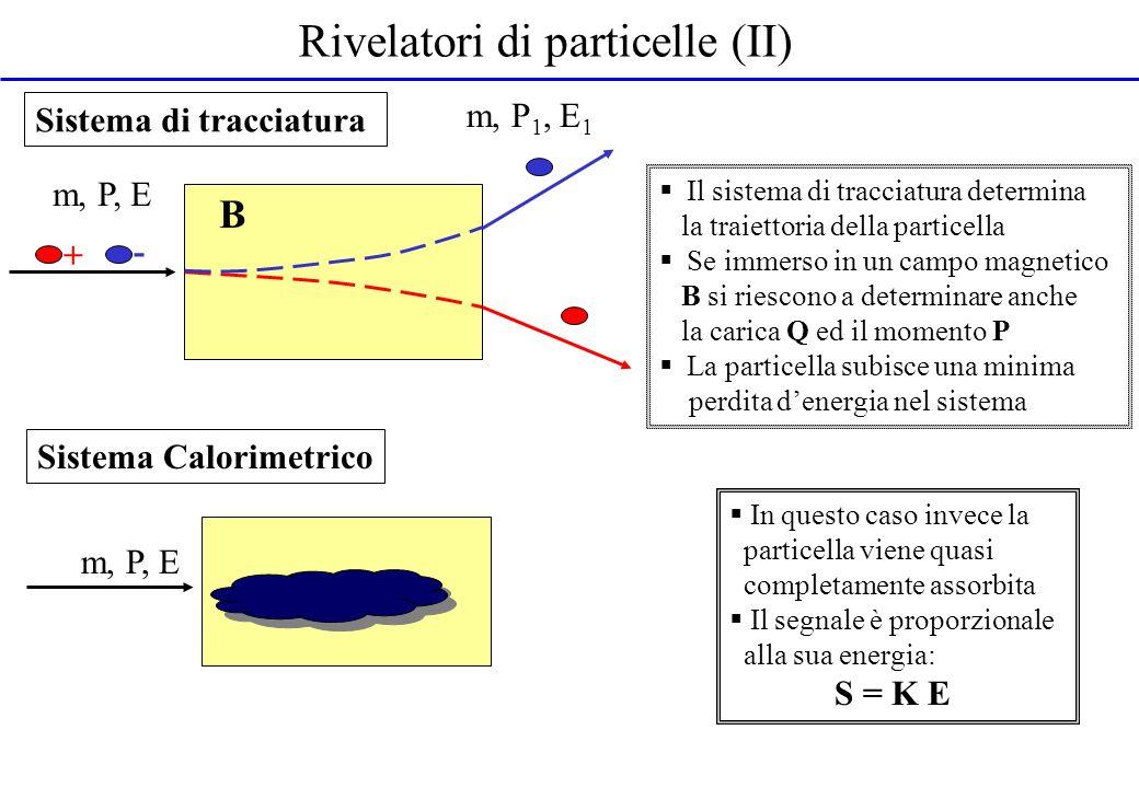 Calorimetri I calorimetri assorbono lenergia della particella incidente E e rilasciano un segnale ad essa proporzionale: Svolgono un ruolo rilevante e complementare alla tracciatura per la loro versatilità di uso e per il fatto che la risoluzione migliora allaumentare dellenergia della particella.