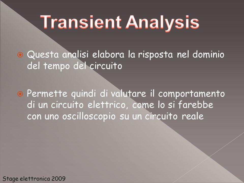 Questa analisi elabora la risposta nel dominio del tempo del circuito Permette quindi di valutare il comportamento di un circuito elettrico, come lo s