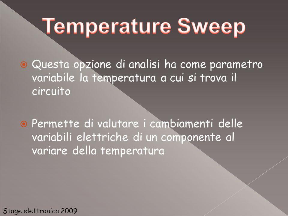 Questa opzione di analisi ha come parametro variabile la temperatura a cui si trova il circuito Permette di valutare i cambiamenti delle variabili ele