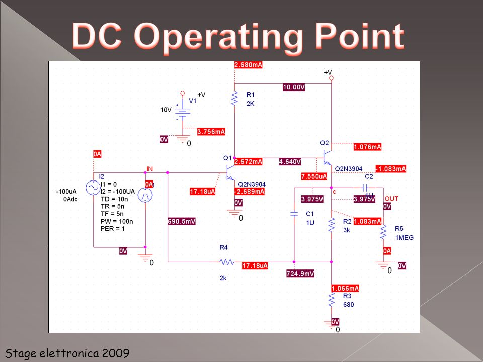 Questa opzione di analisi ha come parametro variabile la temperatura a cui si trova il circuito Permette di valutare i cambiamenti delle variabili elettriche di un componente al variare della temperatura Stage elettronica 2009