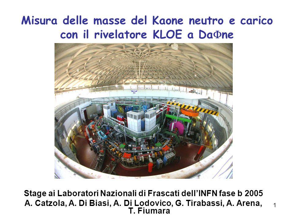 1 Misura delle masse del Kaone neutro e carico con il rivelatore KLOE a Da ne Stage ai Laboratori Nazionali di Frascati dellINFN fase b 2005 A. Catzol