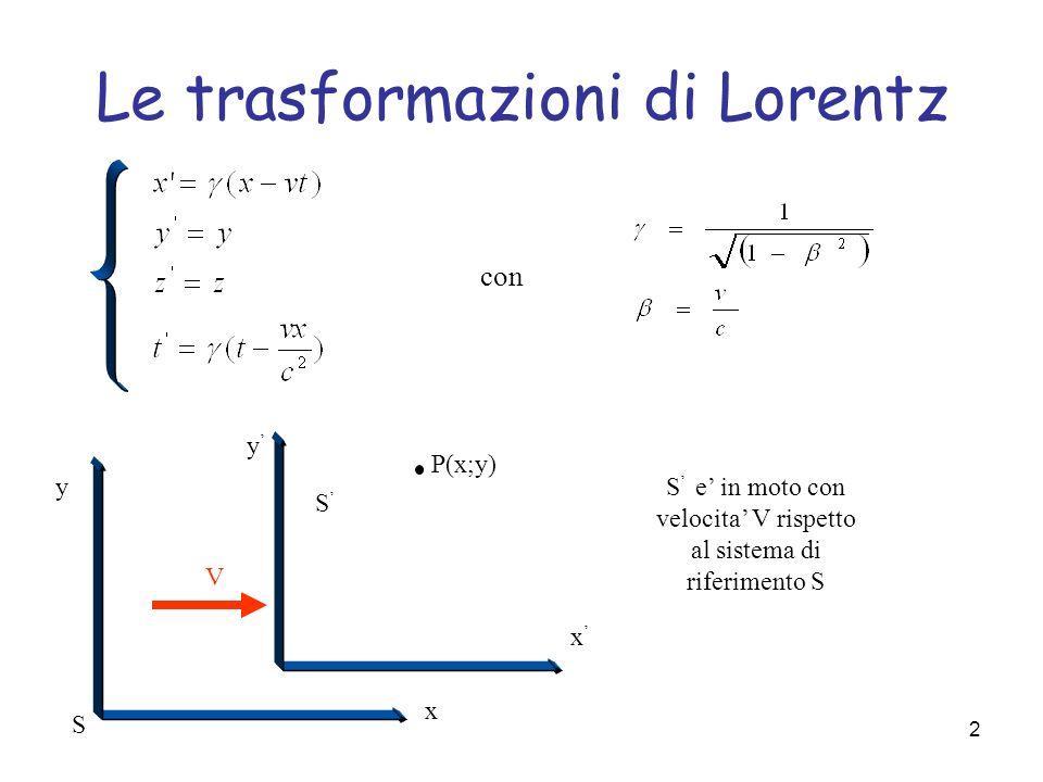 2 Le trasformazioni di Lorentz con P(x;y) V y x x y S S S e in moto con velocita V rispetto al sistema di riferimento S