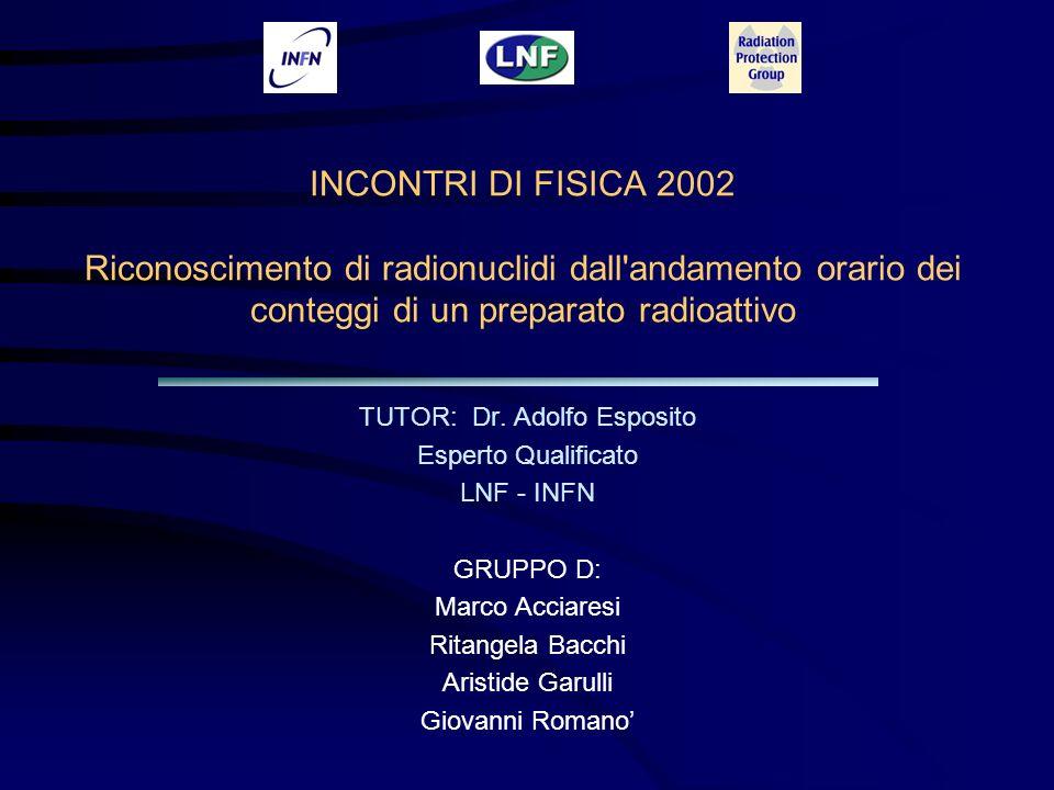 INCONTRI DI FISICA 2002 Riconoscimento di radionuclidi dall andamento orario dei conteggi di un preparato radioattivo TUTOR: Dr.