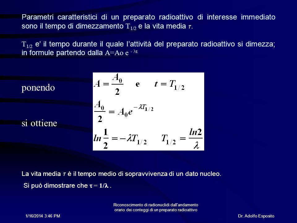 Dr. Adolfo Esposito1/16/2014 3:47 PM Riconoscimento di radionuclidi dall'andamento orario dei conteggi di un preparato radioattivo Parametri caratteri
